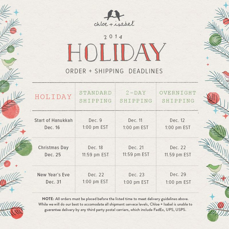 Holiday - Shipping Deadline